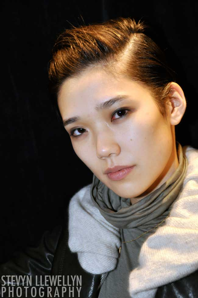 Tao Okamoto Backstage at Phillip Lim